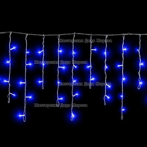 Светодиодная бахрома 3*0.5м цвет синий,провод прозрачный, постоянное свечение, IP54