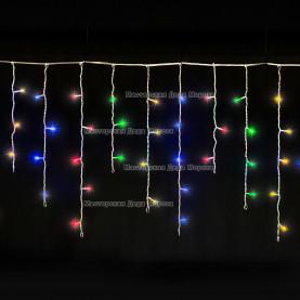 Светодиодная бахрома 3*0.5м цвет мульти,провод прозрачный, постоянное свечение, IP54