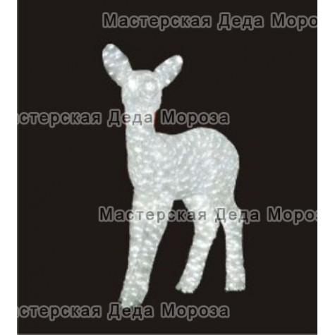Световая Акриловая Фигура 3D Олень малыш 67см цвет белый