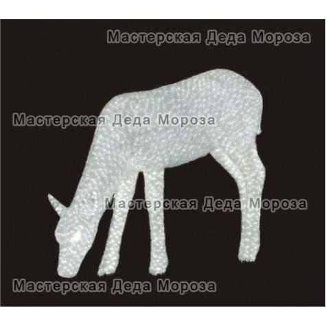 Световая Акриловая Фигура 3D Олень мама 70см цвет белый