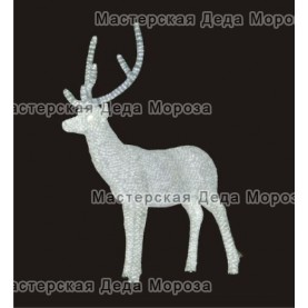 Световая Акриловая Фигура 3D Олень папа 170см цвет белый