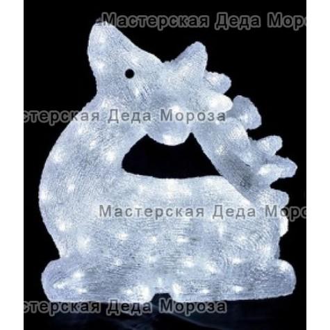 Световая Акриловая Фигура 3D Олень 49см цвет белый