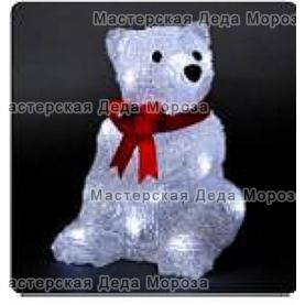 Световая Акриловая Фигура 3D Мишка 18см цвет белый