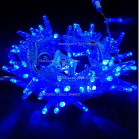 Светодиодная гирлянда цвет синий с мерцанием 24V 10м герметичный колпачок, провод прозрачный IP65